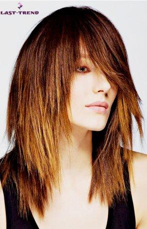 Стрижка для густых средних прямых волос