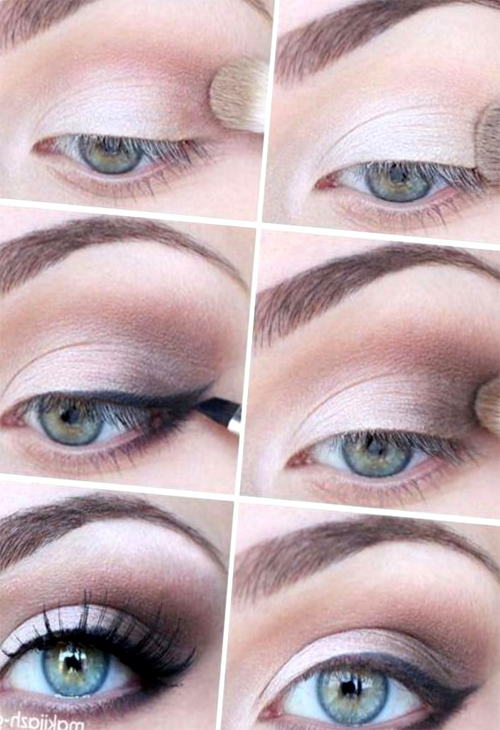 Красивый вечерний макияж для серо-зеленых глаз