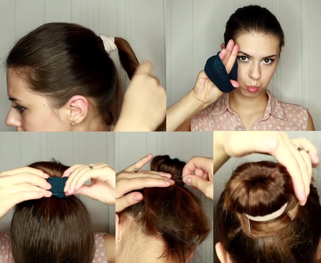 Прическа пучок своими руками на короткие волосы