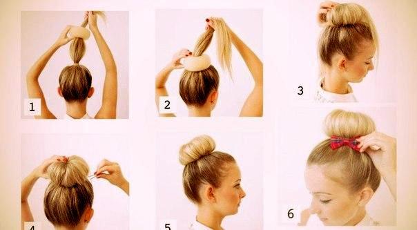 Как одеть бублик на волосы пошагово