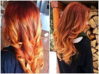 Балаяж на русые волосы с рыжим цветом волос