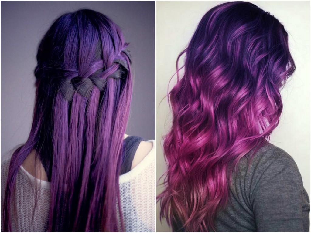 Розово фиолетовые волосы