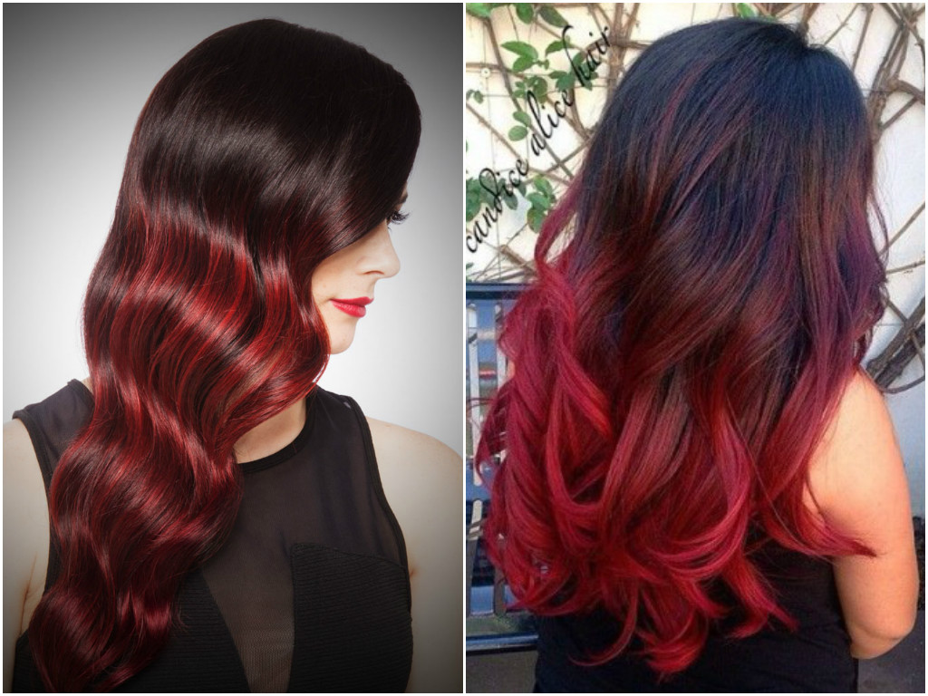 Red brown ombre hair