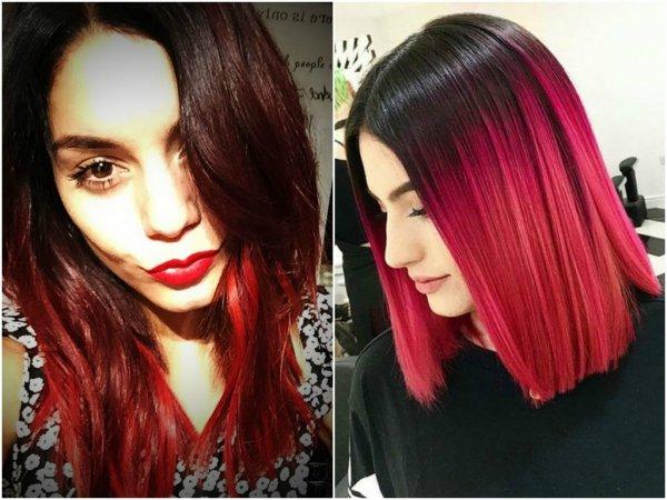 Черные волосы с красными кончиками