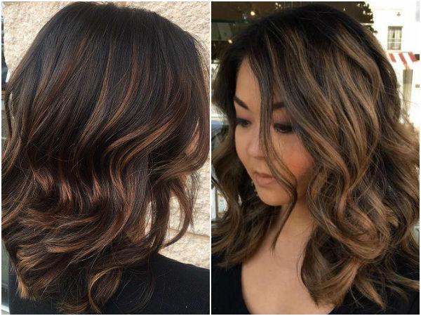Покраска тёмных волос фото