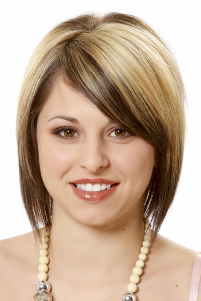 Стрижка для круглого лица на тонкие волосы с челкой