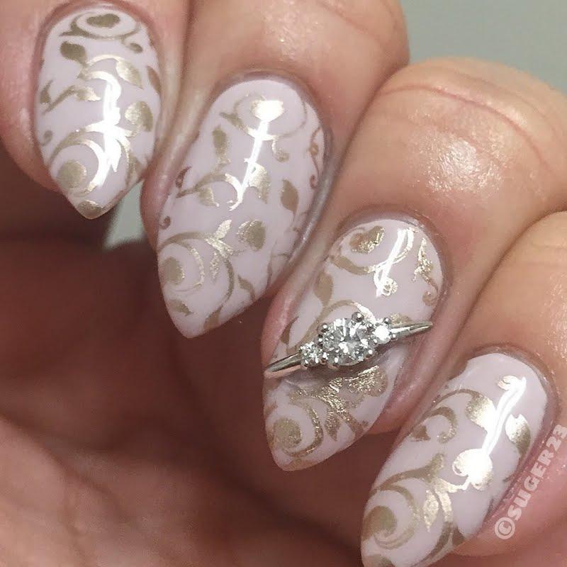 Фото свадебного маникюра с лепкой