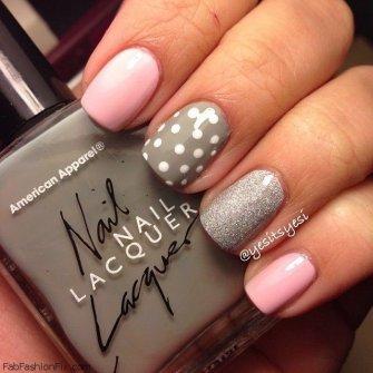 Розовый с серым дизайн ногтей фото