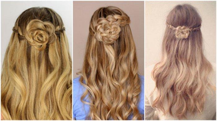 Красивые прически с распущенными волосами и колосками