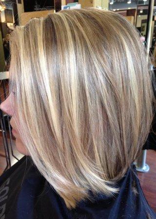 мелирование каре на русые волосы фото