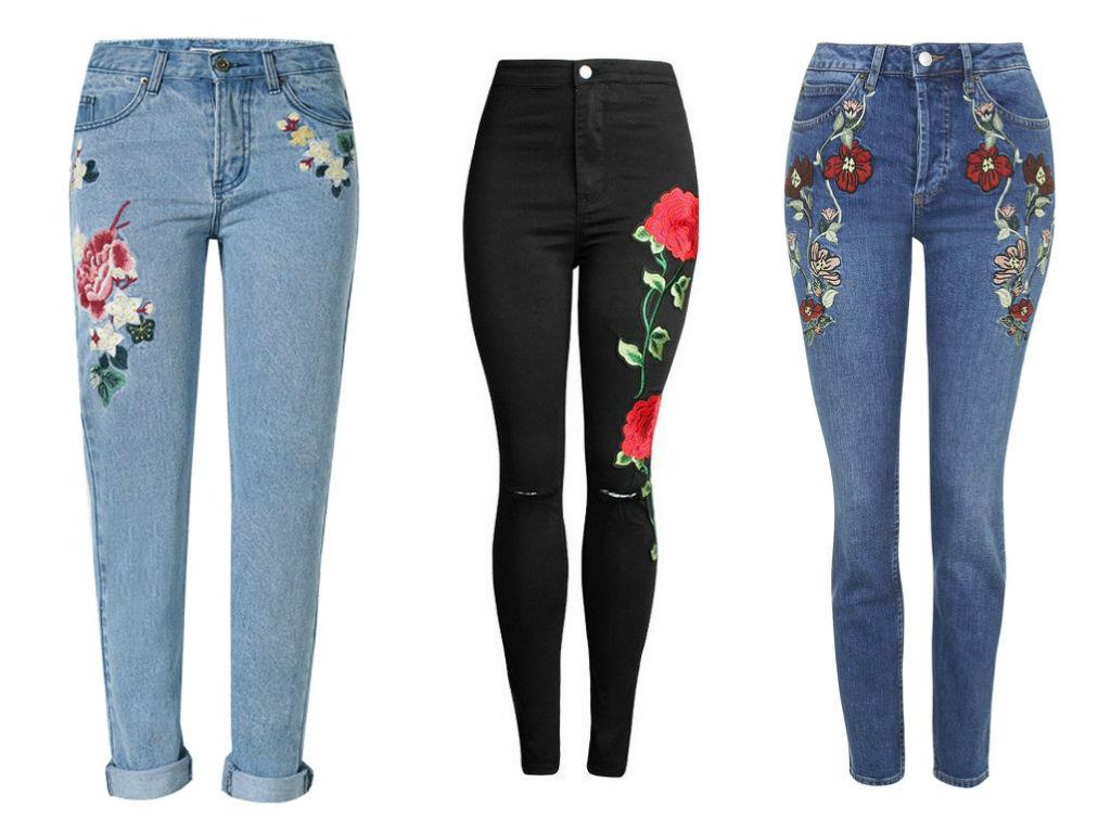 На серых джинсы с вышивкой 42