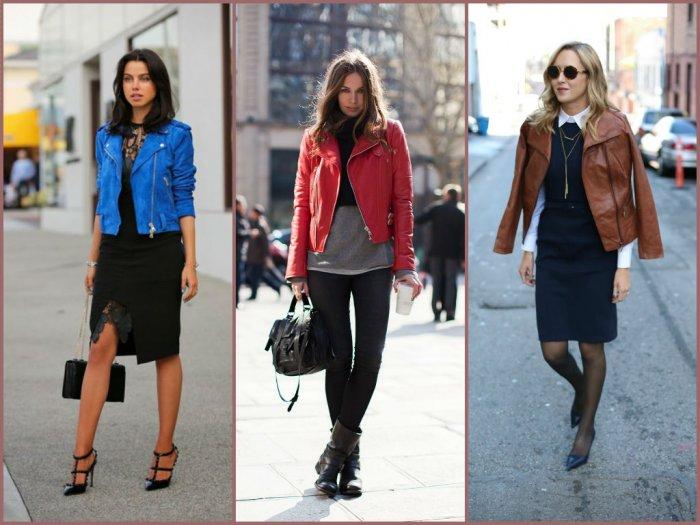 01527beca0cc Запоминающиеся и впечатляющие весенние луки с кожаной курткой варьируют от  повседневного до классического, спортивного и вечернего стиля.