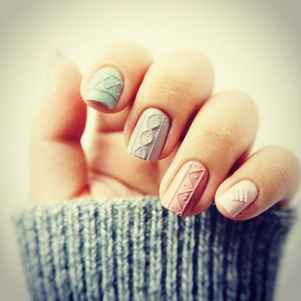 Как сделать дизайн вязаный свитер на ногтях