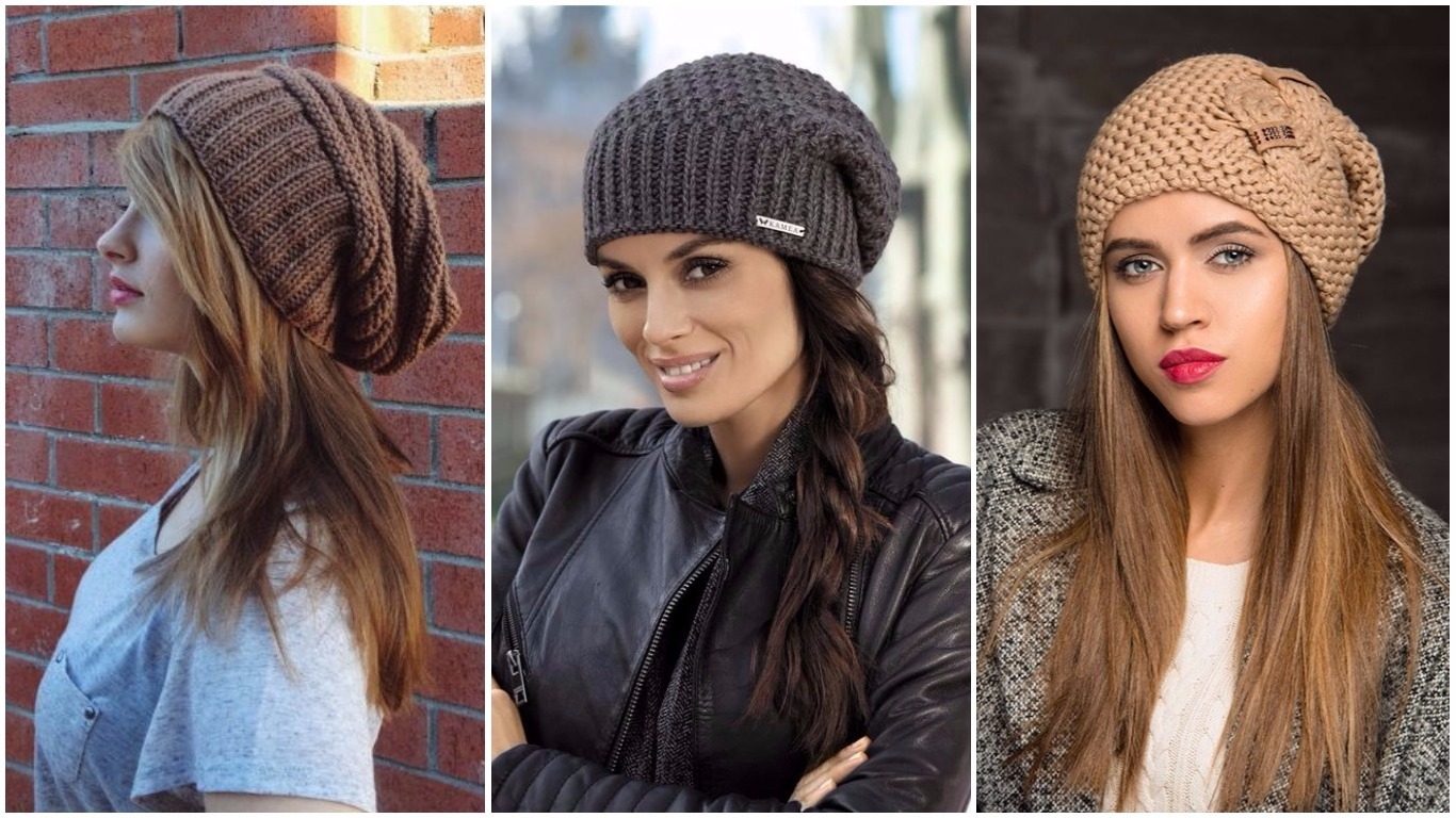 Вязание спицами для женщин модные шапки 2018 года 22