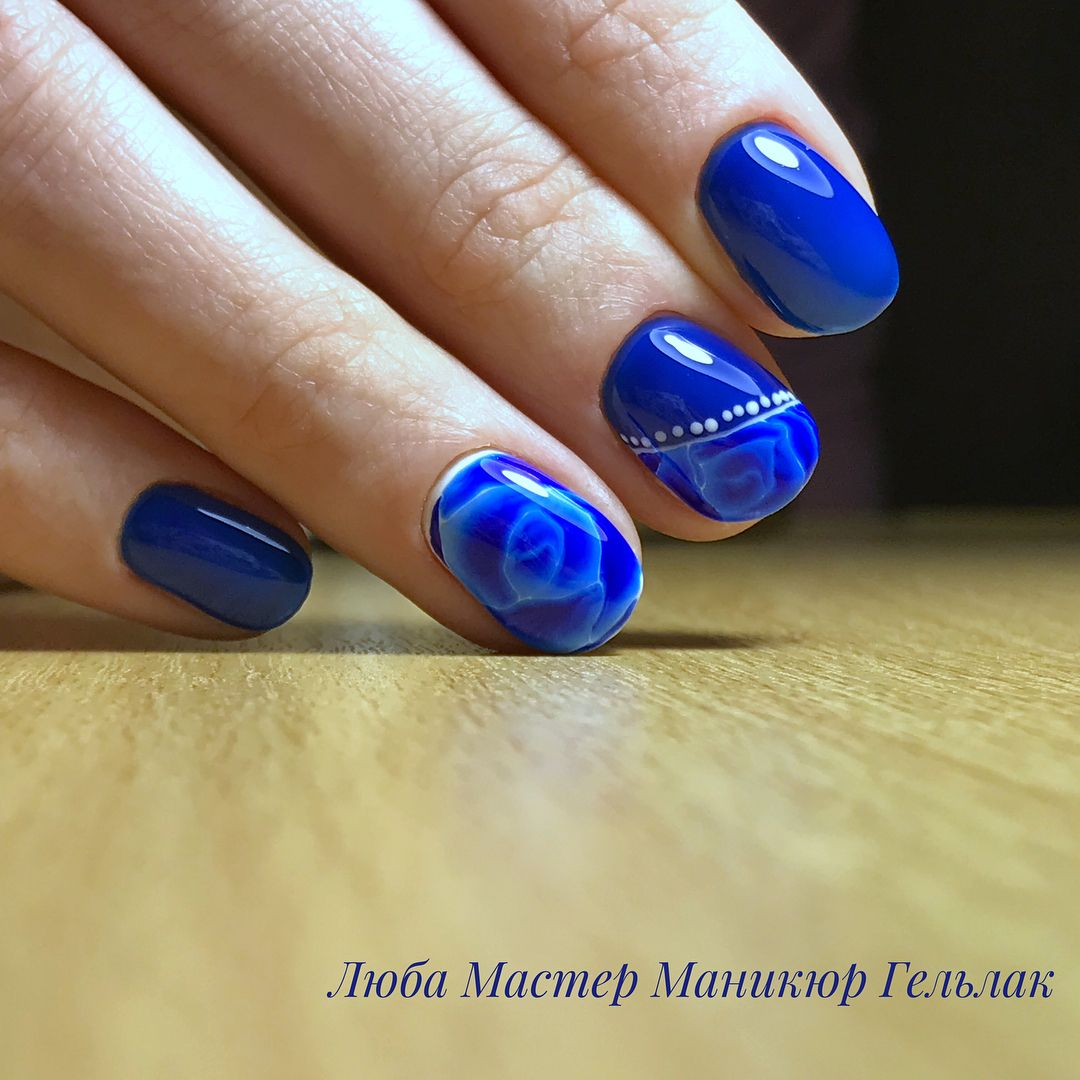 Маникюр синий с серебром фото