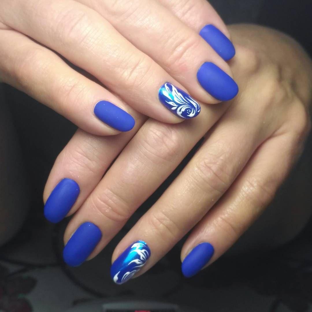 Ногти с синим гель лаком фото