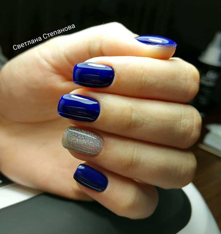 Дизайн синих ногтей фото новинки 2018 года