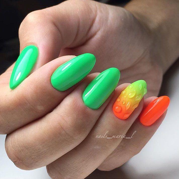Зеленый маникюр и оранжевый