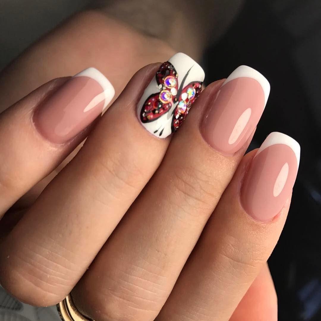 красный с золотым френч на ногтях фото 2018 новинки