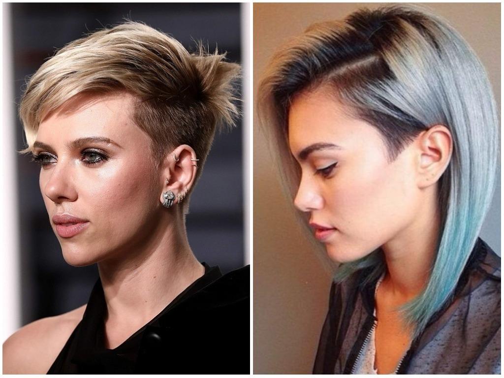 Модные Женские стильные причёски с выбритыми висками